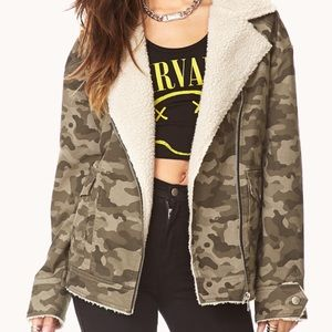 Forever 21 camo aviator jacket with sherpa trim s